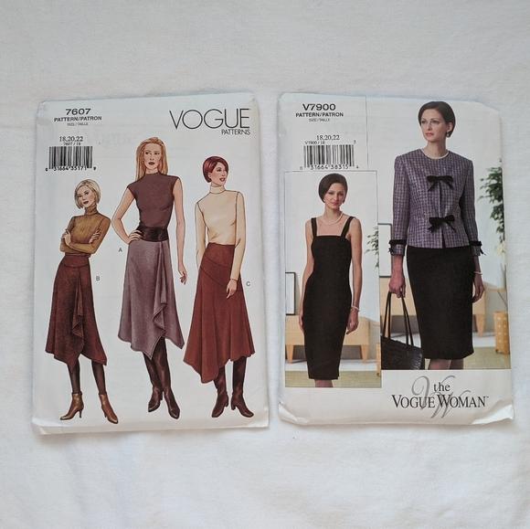 Vogue Sewing Patterns: 7900, 7607 Uncut 18-20-22